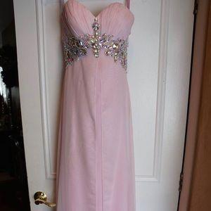 BLUSH prom dress in powder pink